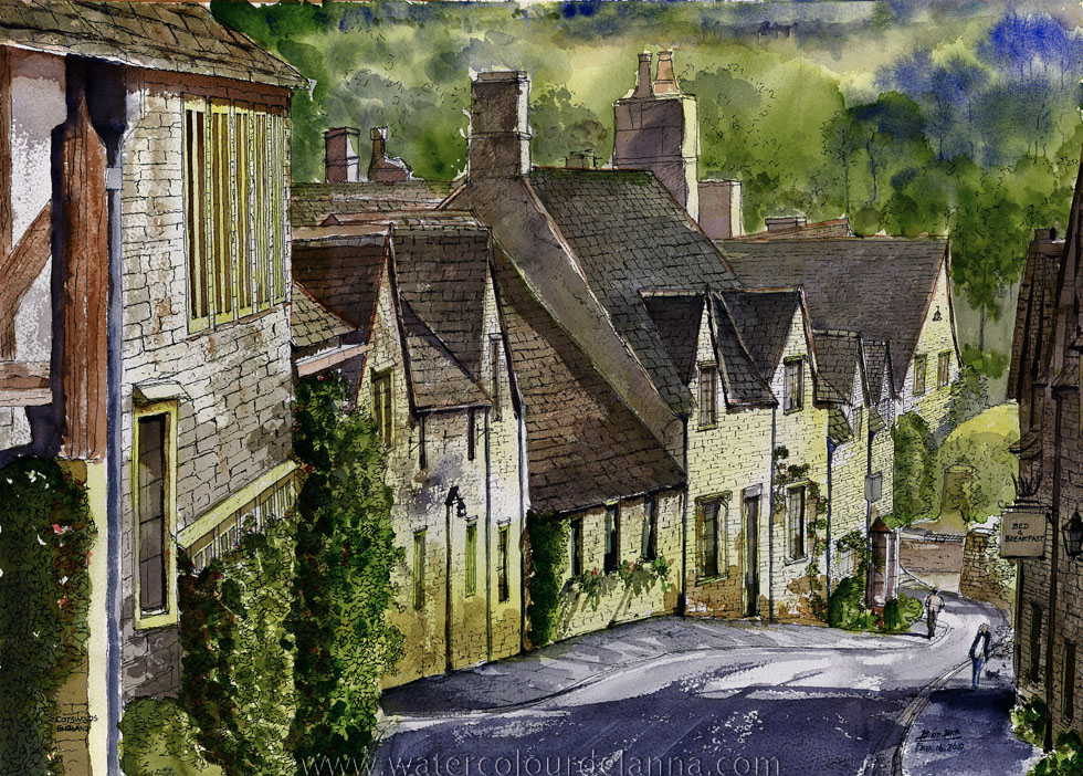 "The Cotswolds, England | watercolour, 10"" x 14"", $180 
