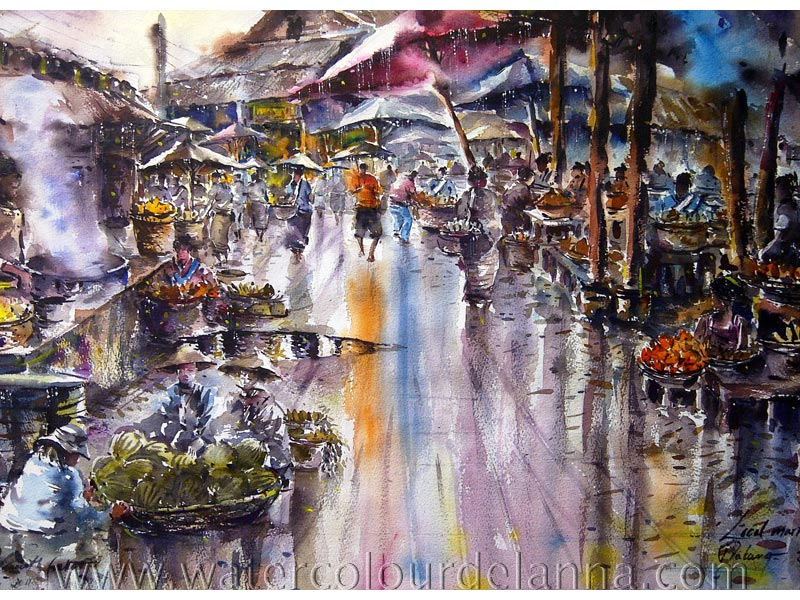 "Local market, Luang Prabang, Laos | watercolour, 22"" x 30"", SOLD 