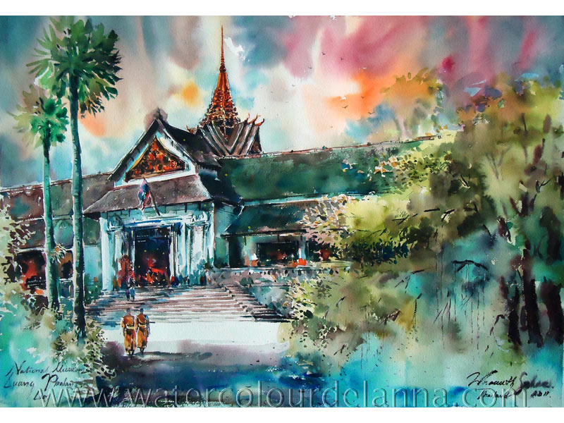 "the National Museum, Luang Prabang, Laos | watercolour, 22"" x 30"", SOLD 