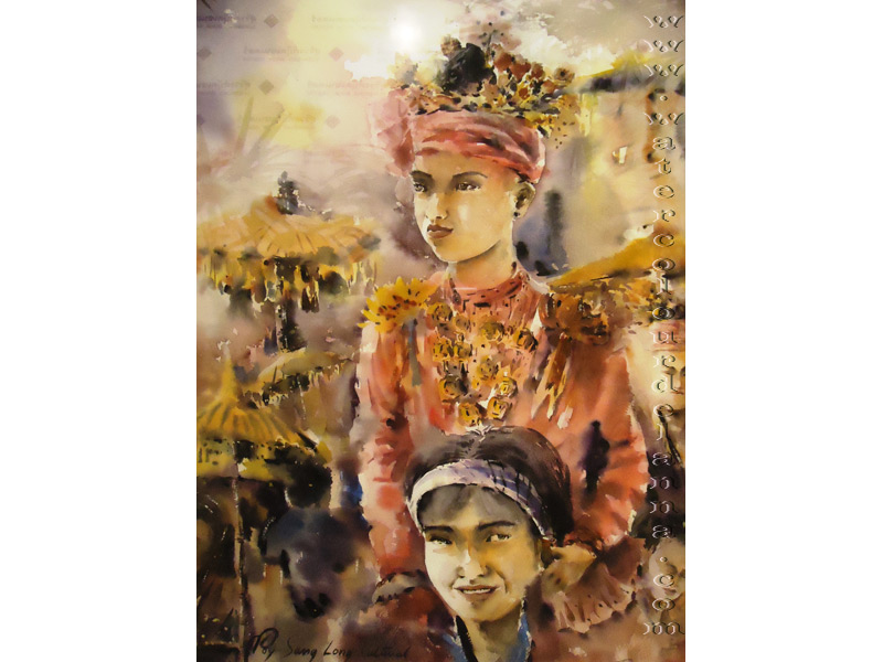 "Poy Sang Long cultural event, Mae Hong Song, Thailand | watercolour, 22"" x 15"", $400 