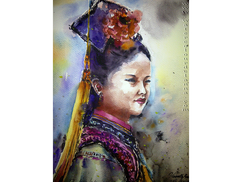 "traditional Chinese costume | watercolour, 15"" x 11"", $200 