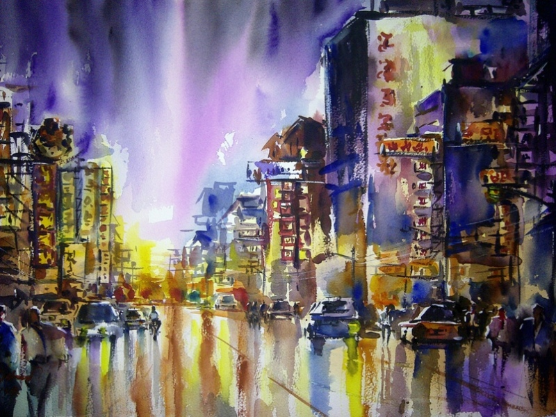 "Chiang Mai's China Town at Night | watercolour, 15"" x 22"", SOLD 