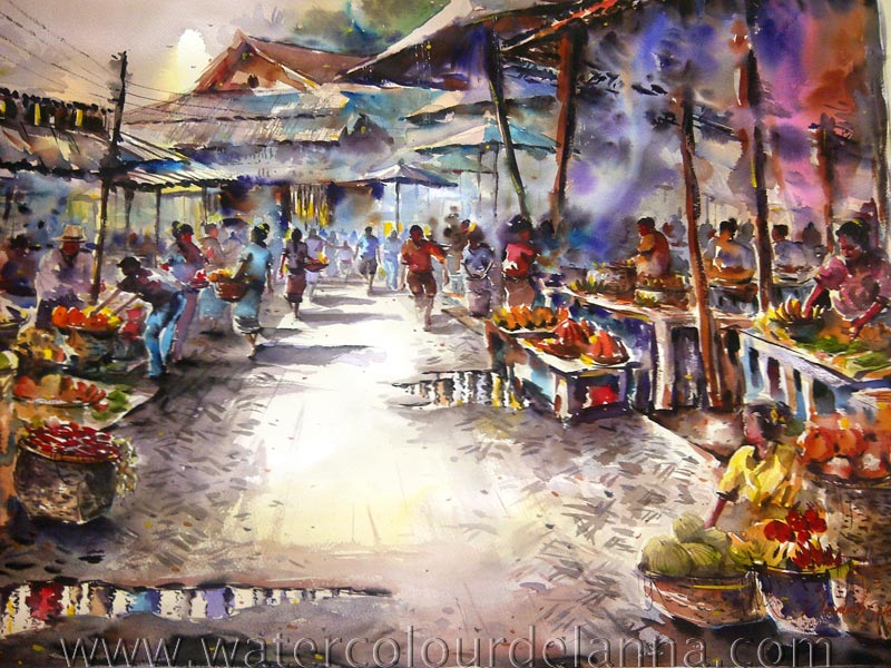 "Local market, Luang Prabang, Laos | watercolour, 22"" x 30"", $500 