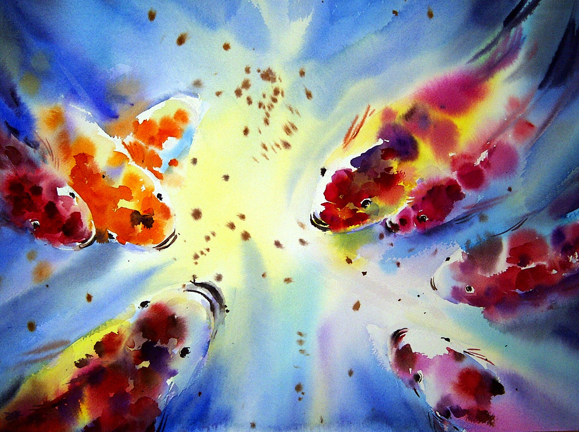 "Koi fish | watercolour, 15"" x 22"", $400 