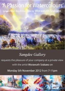 Worawuth Srakaeo watercolour exhibition at Sangdee open evening