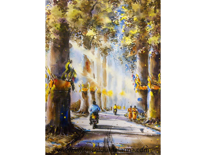 "Old Chiang Mai to Lamphun Road, Thailand | watercolour, 22"" x 15"", $400 