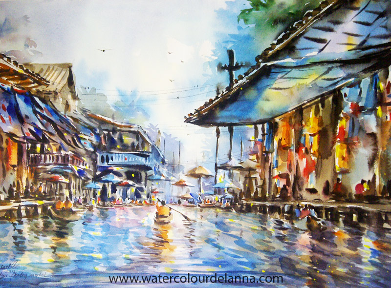 "Floating Market III, Thailand (new) | watercolour, 22"" x 30"", $500 