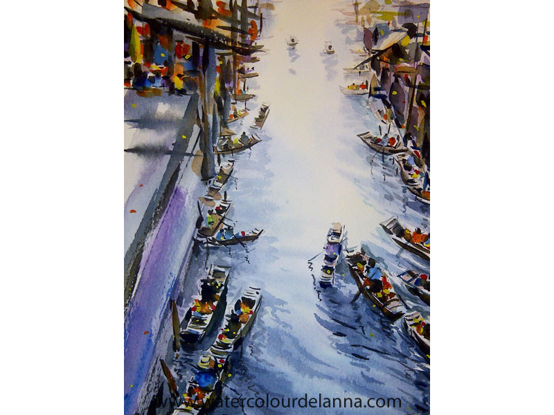 "Floating Market, Thailand | watercolour, 22"" x 15"" SOLD 