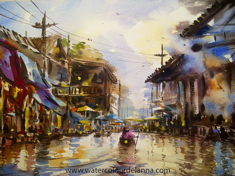 "Floating Market II, Thailand | watercolour, 22"" x 30"", SOLD 