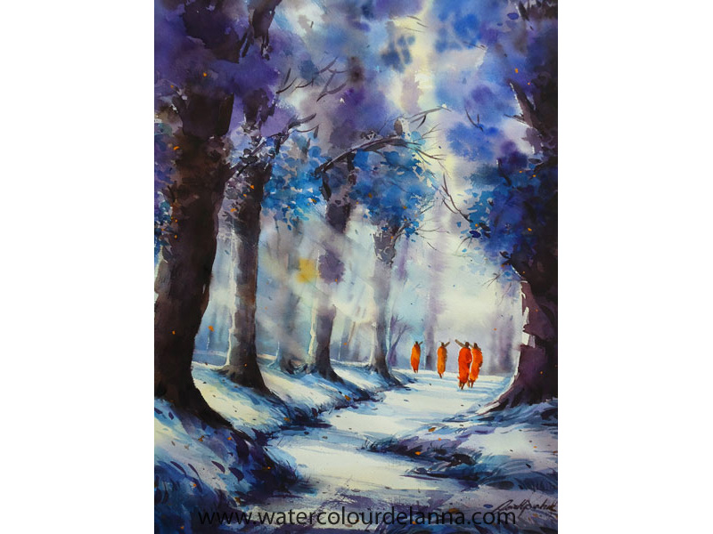 "Winter Forest Monks in blue | watercolour, 22"" x 15"", $400 