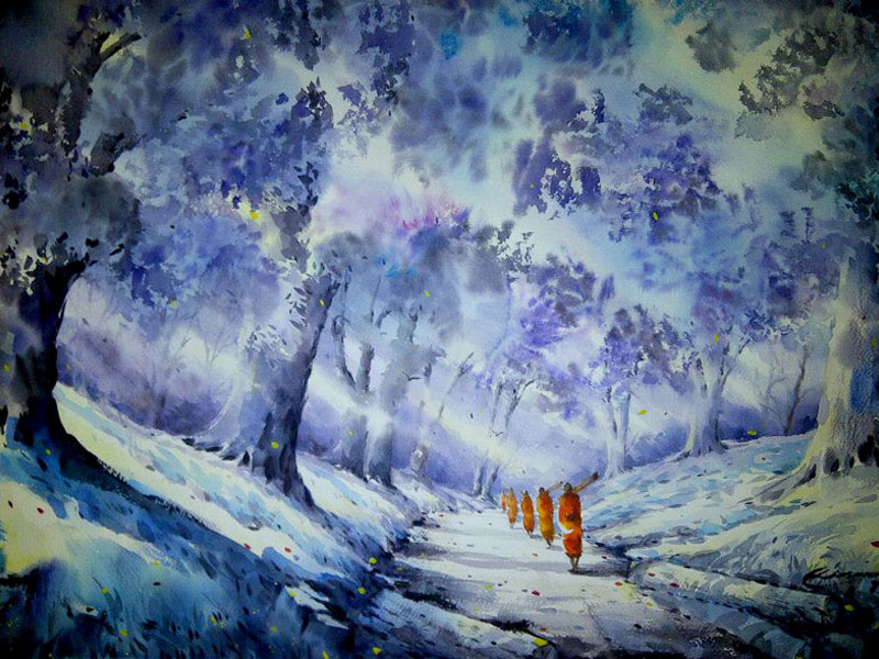 "Autumn Forest Monks in blue | watercolour, 22"" x 30, $600 