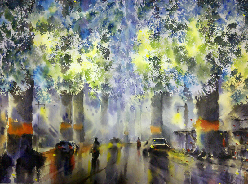"Chiang Mai – Lamphun Road in the Rainy Season (new!) | watercolour, 22"" x 15"", $400 